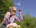 Free Woman Blows A Soap Bubbles Royalty Free Stock Photos - 5389498