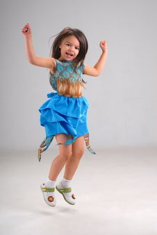 Free Cute Little Jumping Girl Royalty Free Stock Photo - 5380455