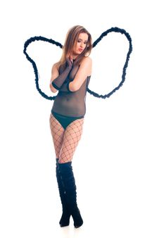 Free Hot Sexy Black Angel Girl Royalty Free Stock Image - 5380636