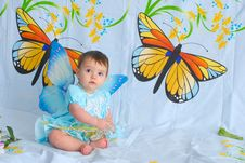 Baby Girl With Butterfly Wings Royalty Free Stock Photo