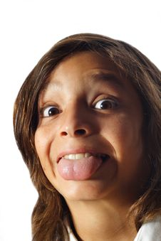 Free Boy Sticking Out His Tongue Stock Image - 5381211