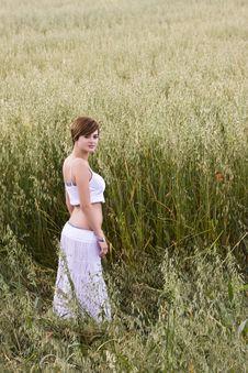 Free Beautiful Model On Field Royalty Free Stock Image - 5381916