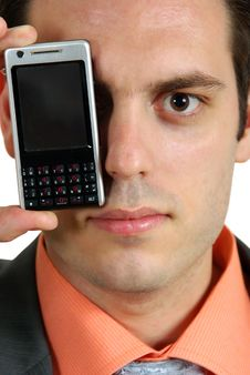Free Man With Cellphone On Eye Stock Photography - 5382762