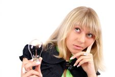 Free Bulb And Women Stock Photography - 5383642