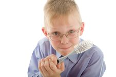 Free Boy Holding Brush And Prepare To Clean Stock Photos - 5383983