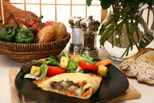 Free Meat Pastry And Salad Royalty Free Stock Image - 5384356