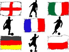 Free Soccer Players And Flags Royalty Free Stock Photo - 5386735