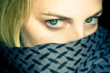 Free Green Eyed Beauty With Covered Face Stock Image - 5387511
