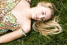 Free Blond On Grass Stock Images - 5387534