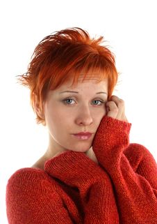 Free Sad Red Haired Woman Royalty Free Stock Photo - 5387785
