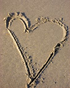 Free Heart In The Sand Stock Image - 5388351