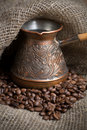 Free Cezve With Freshly Roasted Coffee Beans Royalty Free Stock Photography - 5391907