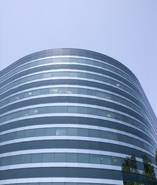 Free Curving  Blue Glass Office Building Stock Photo - 5390150