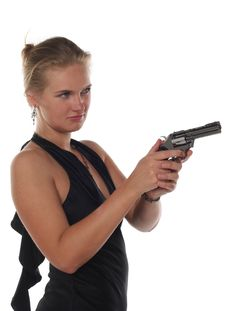 Free Blond Woman With Revolver Stock Photo - 5390660