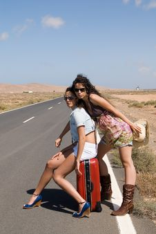 Two Girls On The Road Royalty Free Stock Image
