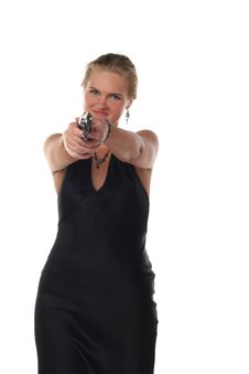 Woman With Revolver Royalty Free Stock Photo