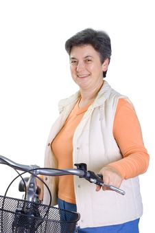 Free Senior Woman On Cycle Stock Photography - 5391892