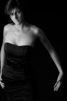 Free Long Lady In Black Dress Stock Photos - 5392153