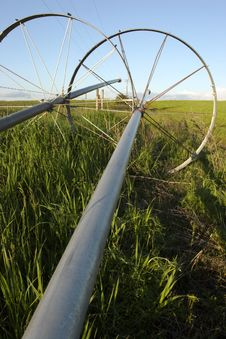 Irrigation Pipes And Wheels. Royalty Free Stock Photos