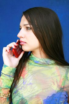 Free Girl With Telephone Royalty Free Stock Photos - 5394638