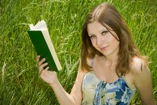 Free Romantic Girl With Book Stock Images - 5395744