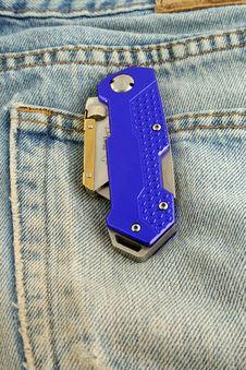 Free Blue Anodized Contractors Razor Knife Stock Photo - 5395920