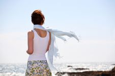 Free Attractive Girl On Seashore Stock Images - 5395954