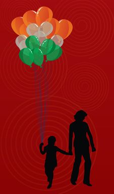 Free Woman And Kid With Tricolor Balloons Stock Images - 5397274