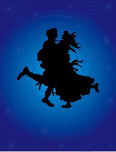 Free Loving Couple On Blue Background Stock Images - 5397464