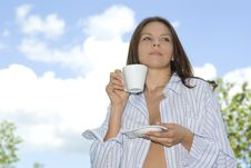 Free Young Woman Relaxing, Drinking Coffee At Mountain Stock Image - 5397931