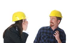 Free Businesswoman And Construction Worker Royalty Free Stock Photos - 5398008