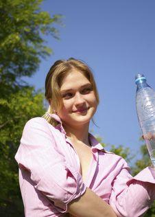 Free Beautiful Woman Drinks Water Stock Photo - 5399730