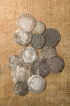 Free Ancient Silver Coins With Portraits Of Kings On The Old Cloth Royalty Free Stock Photos - 53985988