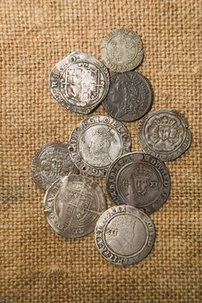 Free Ancient Silver Coins With Portraits Of Kings On The Old Cloth Stock Photo - 53986300