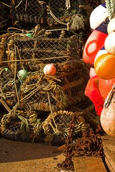 Lobster Pots & Floats Stock Photography