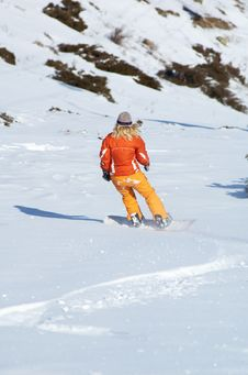 Free Orange Snowboard Girl Stock Images - 543354