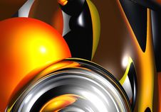 Free Silver Sphere&orange Bubble Royalty Free Stock Photos - 548358