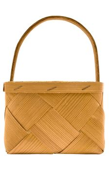 Cubic Wooden Basket W/ Path (Side View) Royalty Free Stock Images