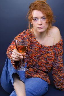 Free Red Hair Beauty And Wine Stock Photography - 549842