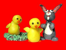 Free Easter Two Chicks Bunny 1 Stock Images - 549924