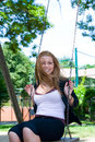 Free Portrait Of The Young Girl On A Swing Royalty Free Stock Images - 5405309
