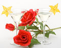 Free Martini Glass, Red Rose And Carambola Royalty Free Stock Image - 5405976