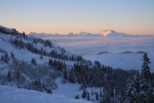 Sunset In Swiss Alps Stock Photo