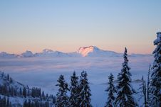 Sunset In Swiss Alps Royalty Free Stock Photo