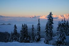 Sunset In Swiss Alps Royalty Free Stock Images