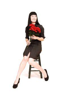 Sitting Woman In Black Dress. Stock Photos