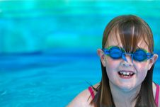 Young Girl With Swimming Goggles Royalty Free Stock Photo