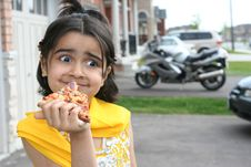 Free Little Girl Eating A Pizza Slice Stock Image - 5403551