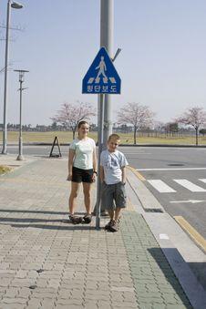 Free Korean Pedestrian Crossing Stock Photography - 5403592
