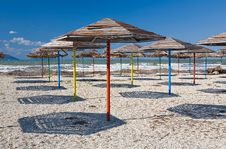 Free Umbrellas On A Beach Stock Image - 5405071